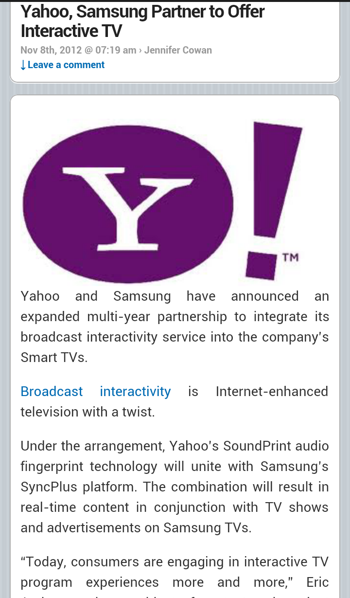 Yahoo, #Samsung Partner to Offer Interactive TV