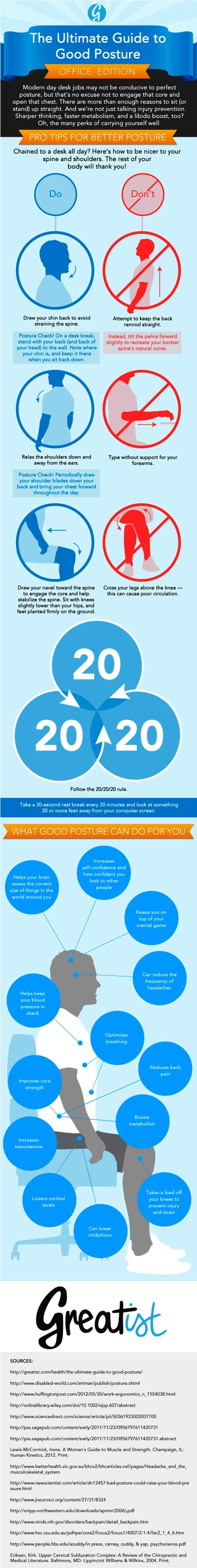 The Ultimate Guide to Good Posture: Office Edition #infographic