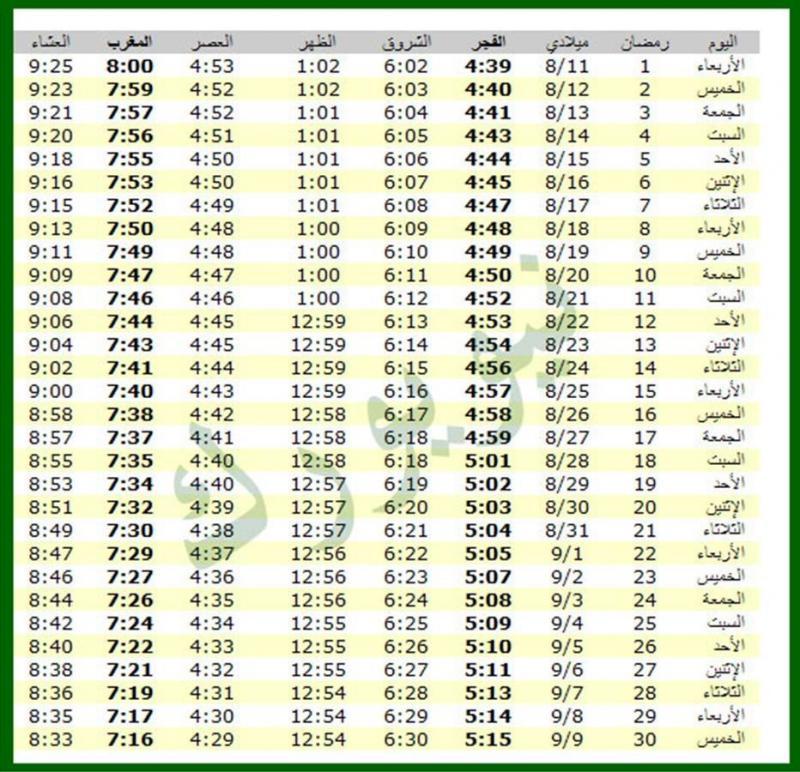 امساكية شهر رمضان 1434 - 2013 نيويورك الولايات المتحدة الأمريكية