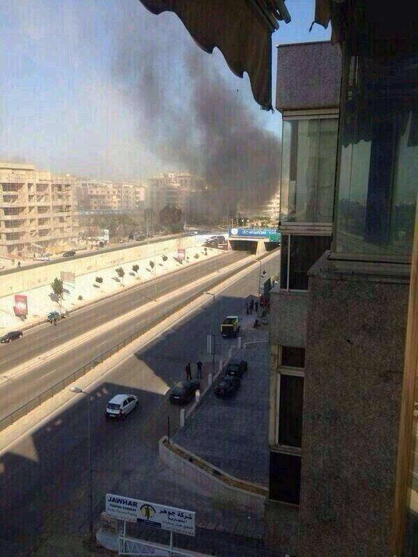انفجار قرب السفارة الكويتية في الضاحية الجنوبية بيروت