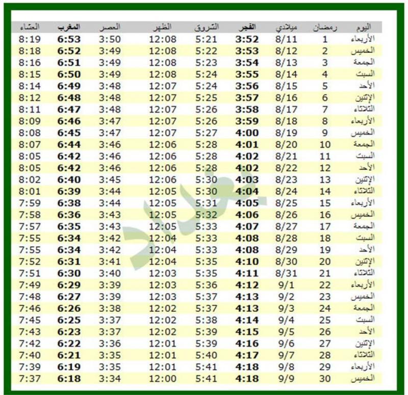 امساكية شهر رمضان 1434 - 2013 بغداد العراق
