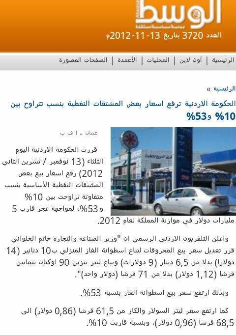 اسعار المحروقات في #الأردن
