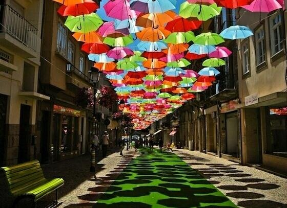 شارع المظلات في أخيدا في #البرتغال