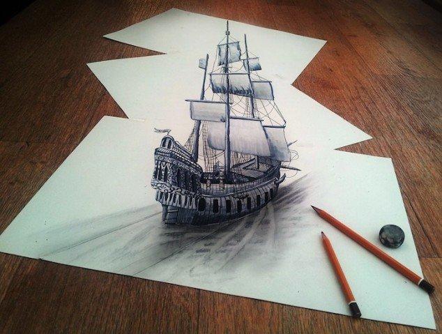 رسم سفينة ثلاثي الابعاد