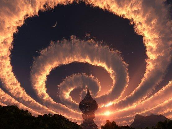 Cloud spiral in the sky. An Iridescent (Rainbow) Cloud in Himalaya