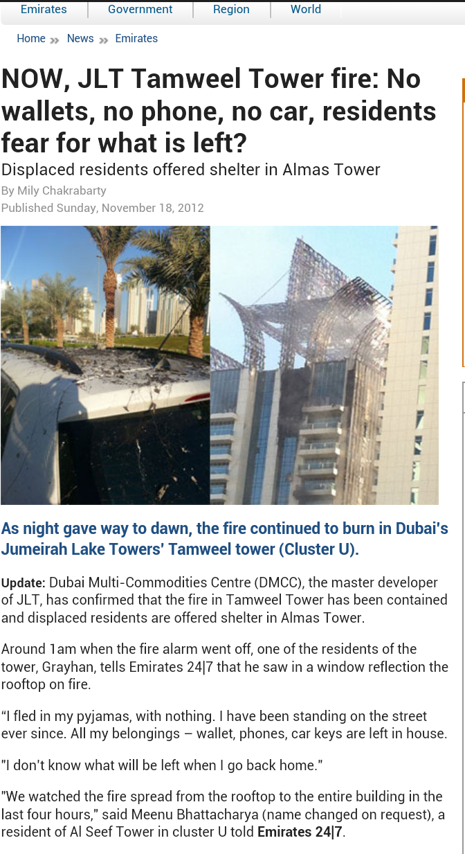 JLT Tamweel Tower fire: No wallets, no phone, no car, residents fear for what is left?