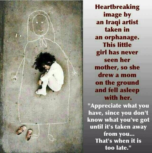 #Heart_Breaking an Orphan Creates her version of her mother to be able to sleep
