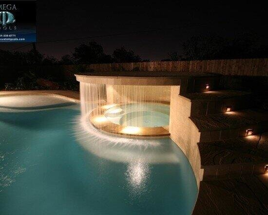 Hot tub behind a waterfall