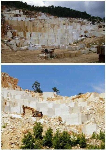 صورة للمكان الذي يؤخذ منه رخام الارضيات بالحرم المكي وهو في جزيرة ثاسوس اليونانية.