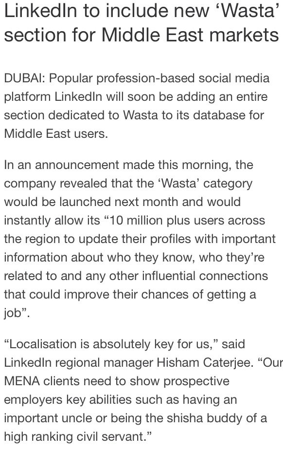 #Linkedin to add a WASTA section for its MENA users