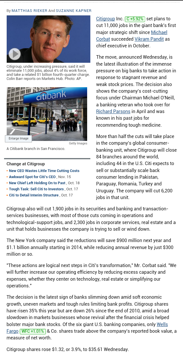 Citigroup to Cut 11,000 Jobs as New CEO Moves to Slash Costs