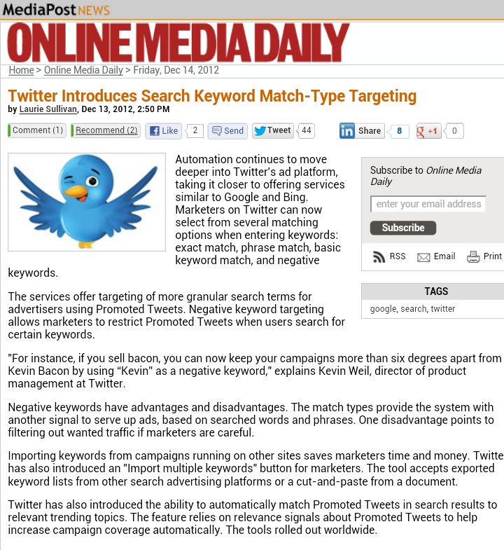 Twitter Introduces Search Keyword Match-Type Targeting