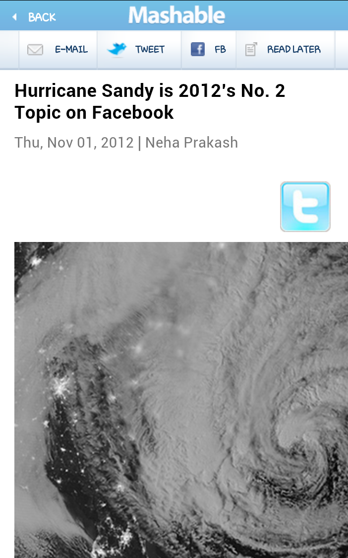 Hurricane Sandy is 2012′s No. 2 Topic on Facebook