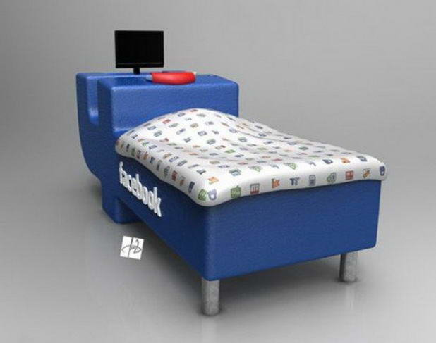 Funny Bed for Facebook Addicts
