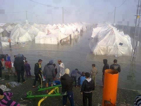 مخيم #الزعتري في #الأردن بعد الأمطار