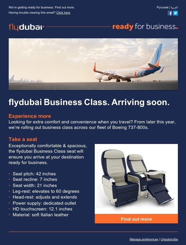 Flydubai introduce new business class on their flights