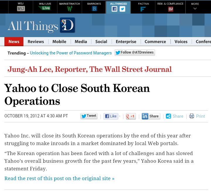 Yahoo says Goodbye to South Korea