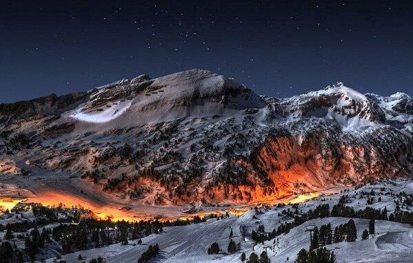 Mountain landscape at night, Norway.