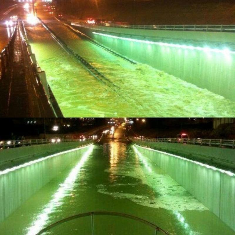 صورة / نفق السويدي في الرياض يغرق رغم مشروع الإصلاح الذي تم بعد غرق باص الطالبات #أم