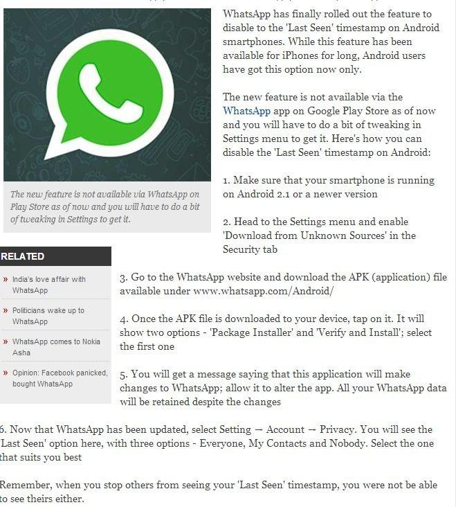 How to hide 'Last Seen' timestamp on WhatsApp