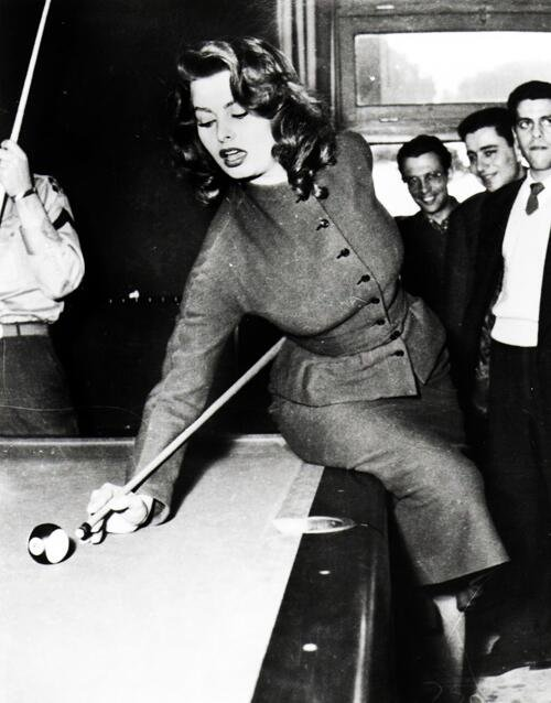 Sophia Loren playing pool, 1950's