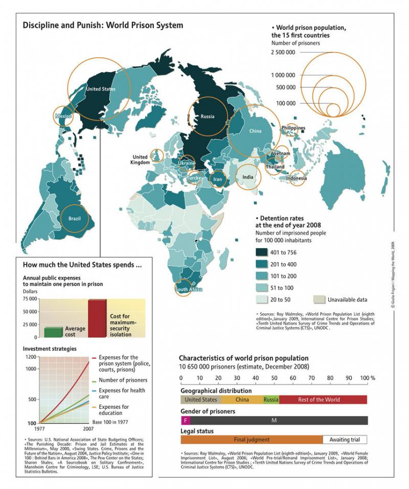 discipline and punish world prison systems #infographic