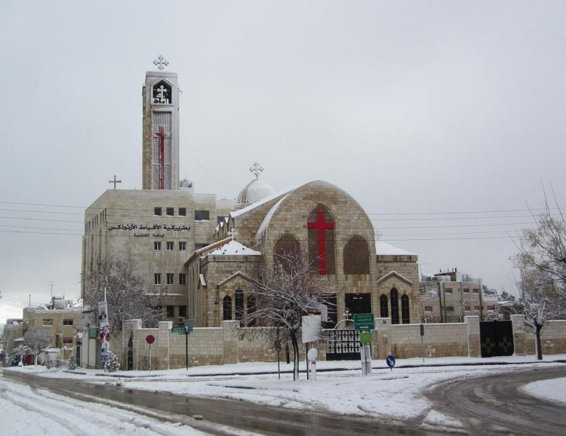 coptic orthodox church in #amman covered with snow