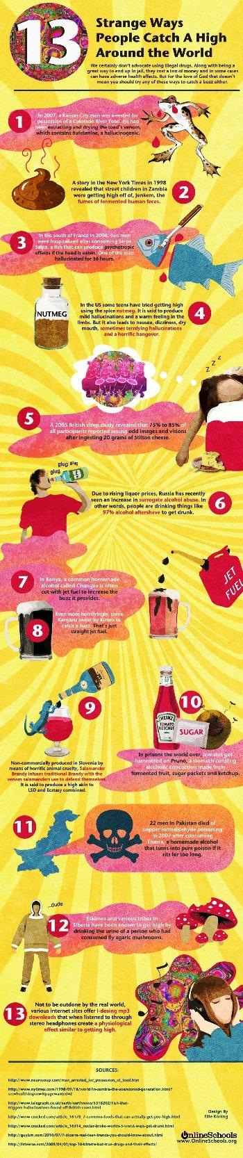 13 strange ways people catch a high around the world #infographic
