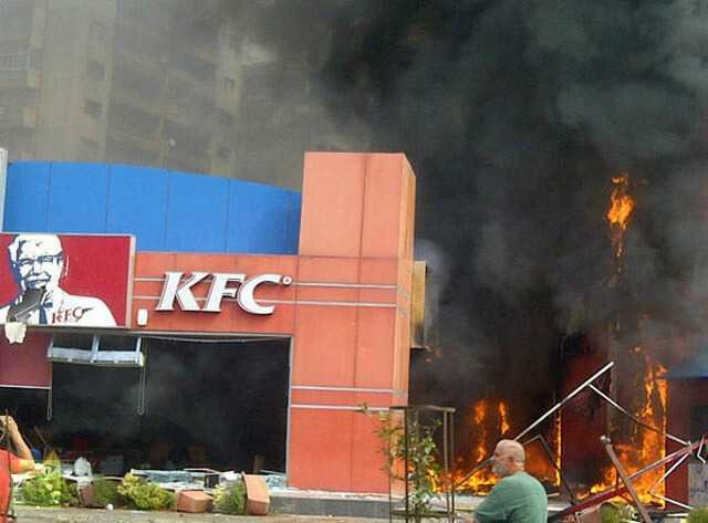 Protesters torch KFC
