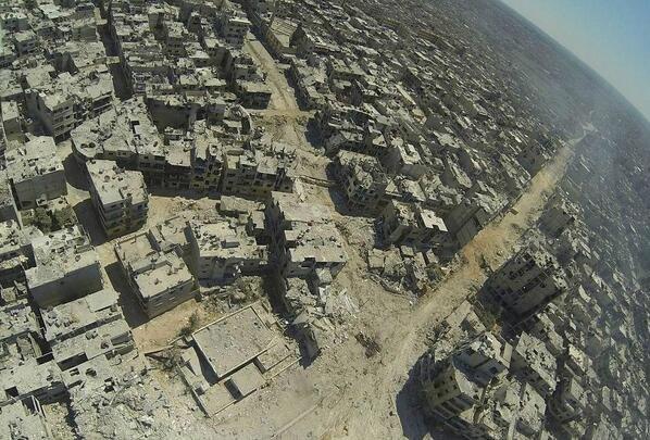 صورة جوية تظهر مدى الدمار الذي لحق بحمص #سوريا