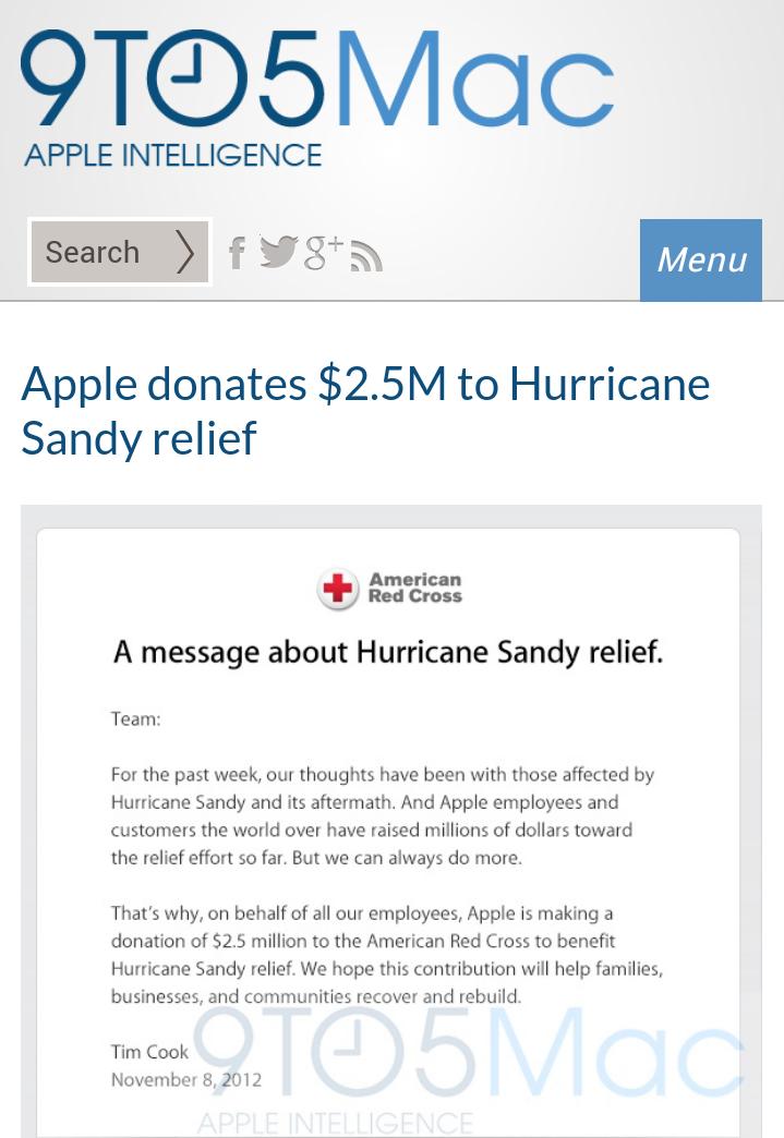 Apple donates $2.5M to Hurricane #Sandy relief