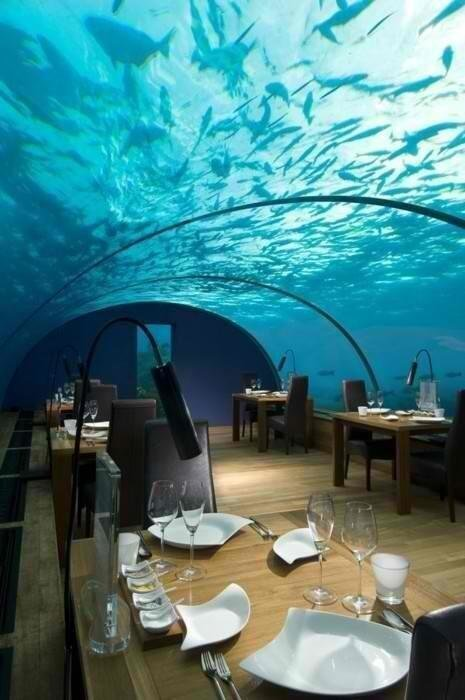 Underwater restaurant in Maldives