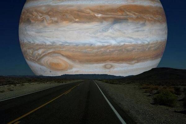 If Jupiter was as close to earth as the moon is, this is how it would look like