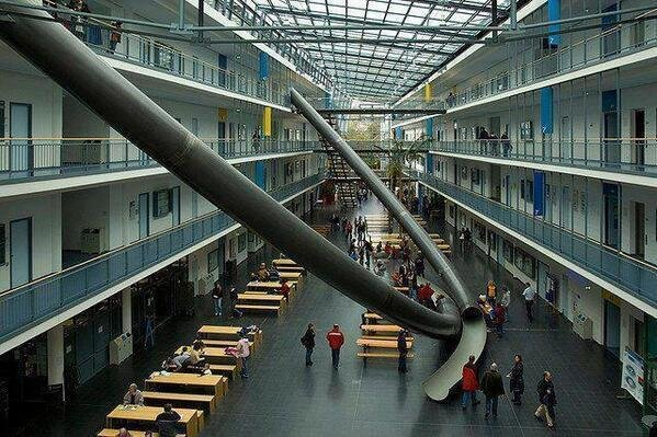 At the University of Munich in Germany, this 4 story slide can take students from any floor down to