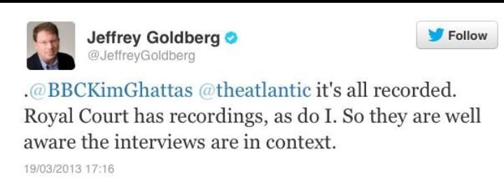 الصحفي جيفري غرينبيرغ ينفي تحريف المقابلة مع جلالة #الملك_عبدالله الثاني ويقول ان لديه تسجيلات