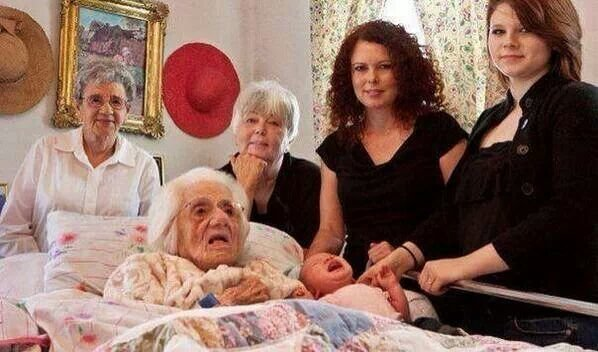 6 generations in one photohraph 111 years, 88 years ,70 years ,39 years 16 and 7 weeks