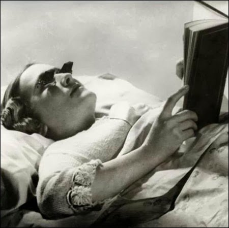 Glasses that let you read while lying down 1936