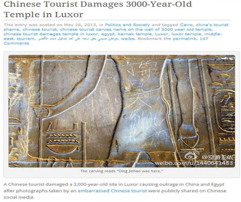 Chinese Tourist Damages 3000-Year-Old Temple in Luxor