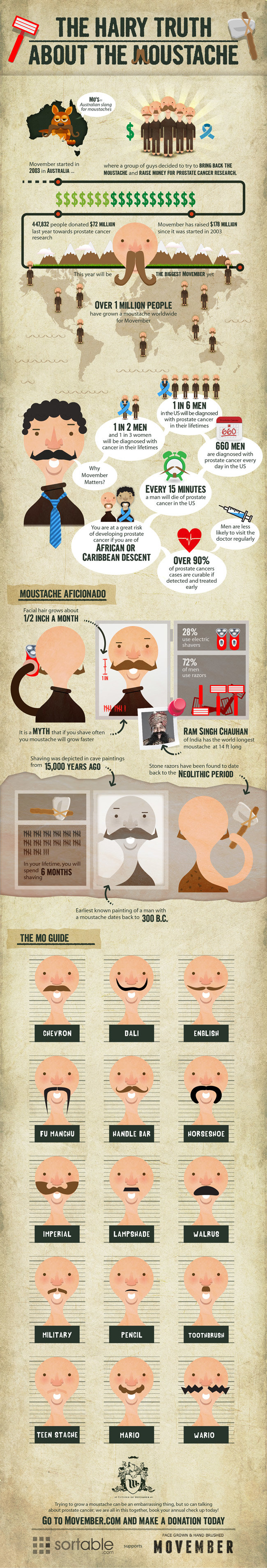 the hairy truth a bout the moustache #infographic