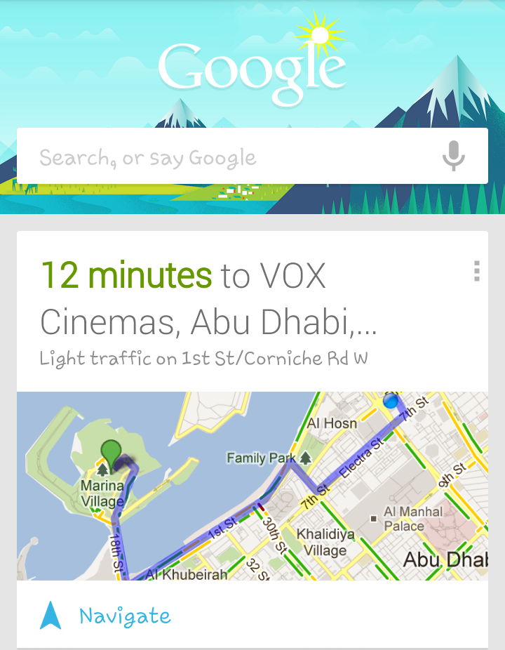 I was searching for a movie in vox cinema in marina mall, and #Google suggested the route to