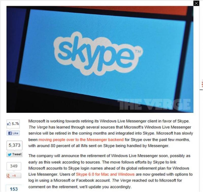 Microsoft to retire Windows Live Messenger in favor of Skype