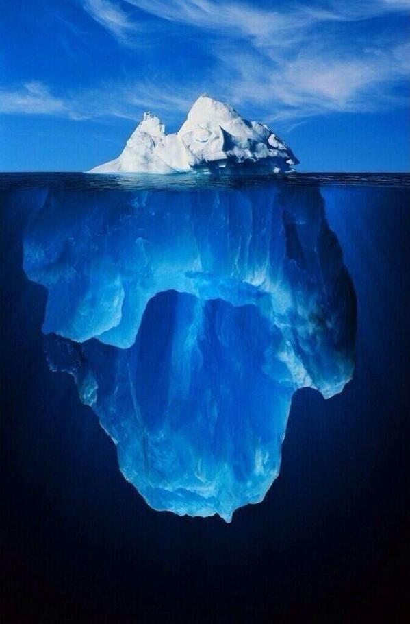 منظر مذهل لجبل جليدي عائم وسط البحر الأسم العلمي لهذه الظاهره هو iceberg