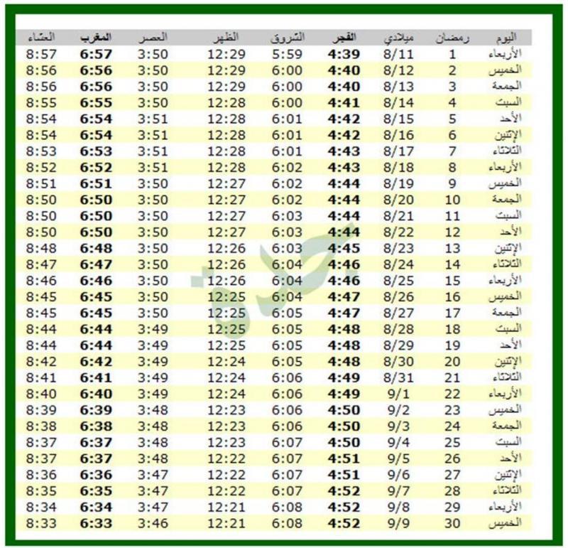 امساكية شهر رمضان 1434 - 2013 جدة السعودية