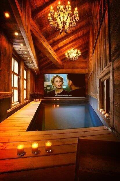 Indoor pool movie theatre