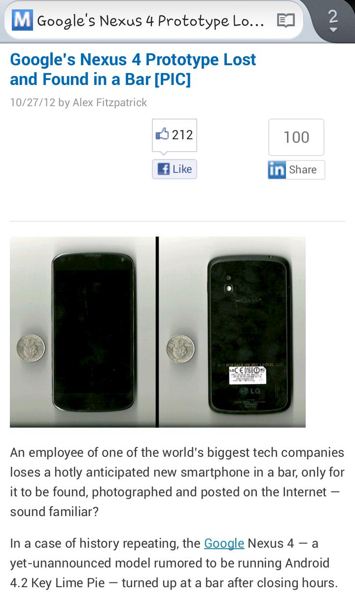 Google employee loses Nexus 4 prototype in a bar!