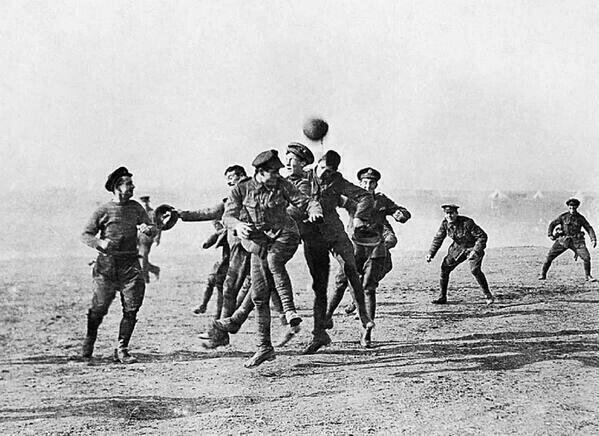 German and British troops forgot about the war for a moment and played football