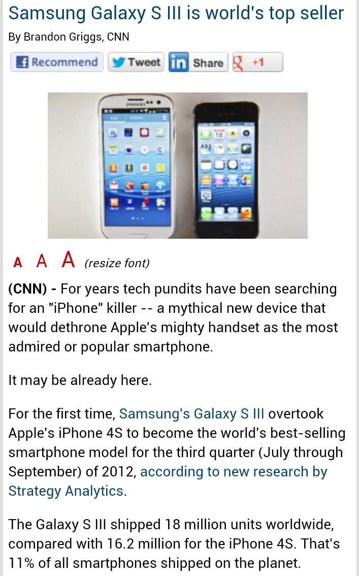 Samsung Galaxy S III is world's top seller