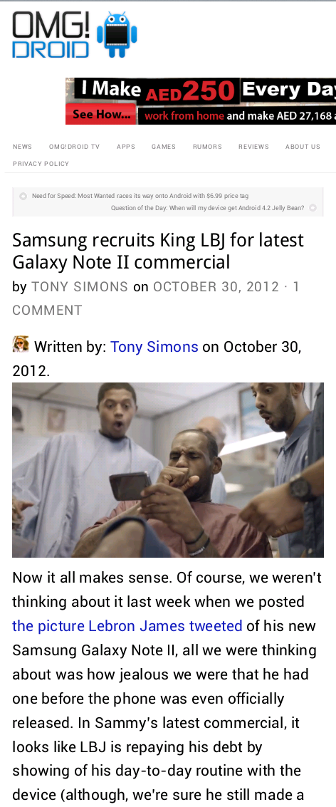Samsung recruits King LBJ for latest Galaxy Note II commercial