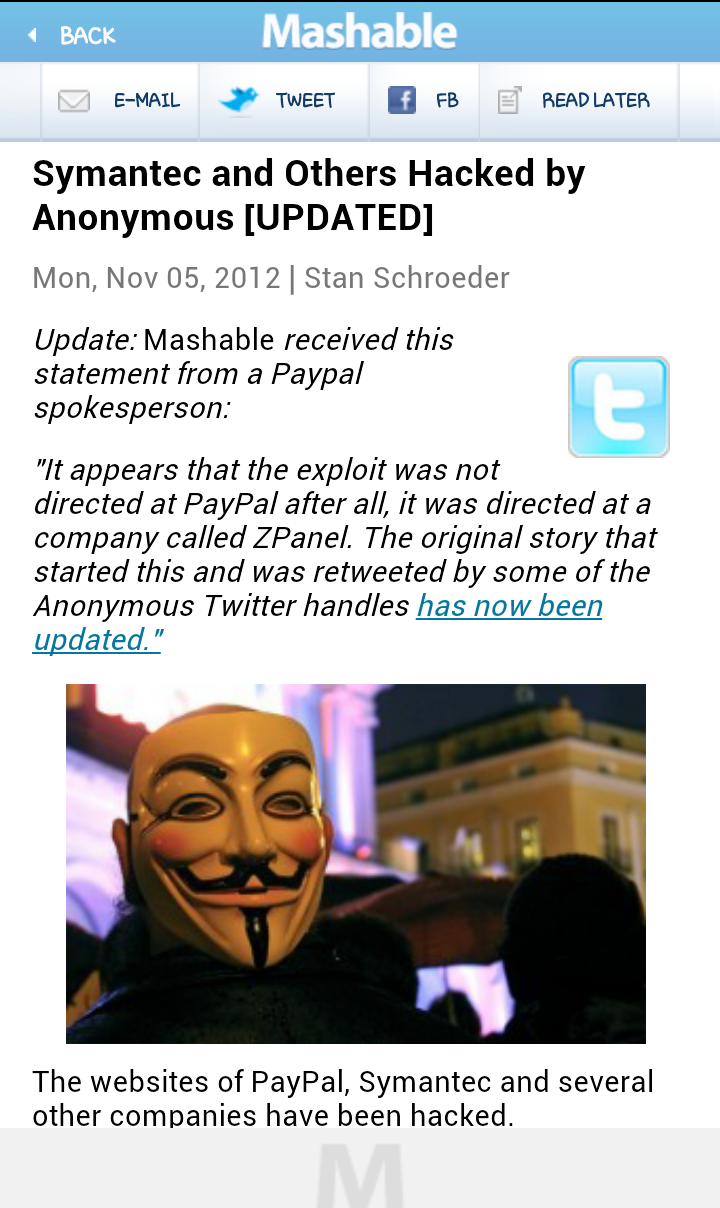 Symantec & others hacked by Anonymous