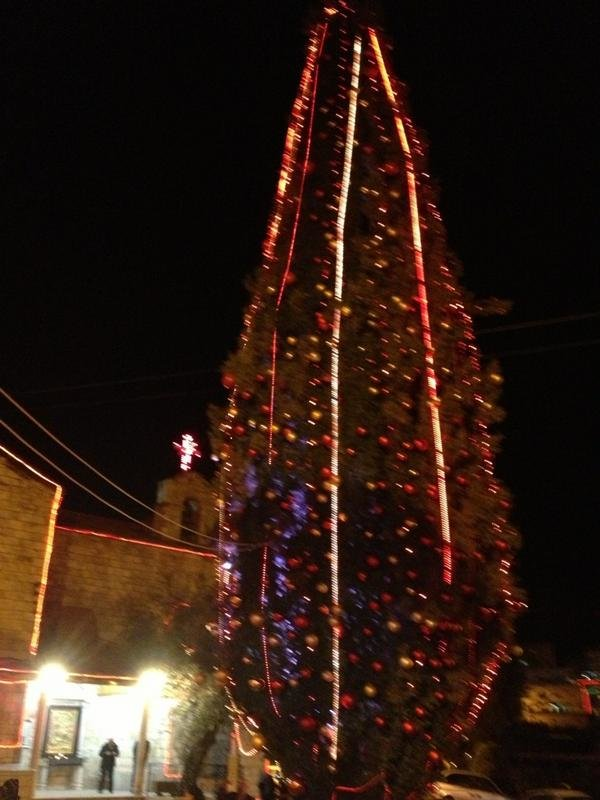 صورة شجرة الميلاد ليلا في #الفحيص #الأردن